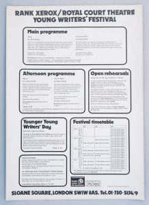 scan of the Royal Court Theatre programme