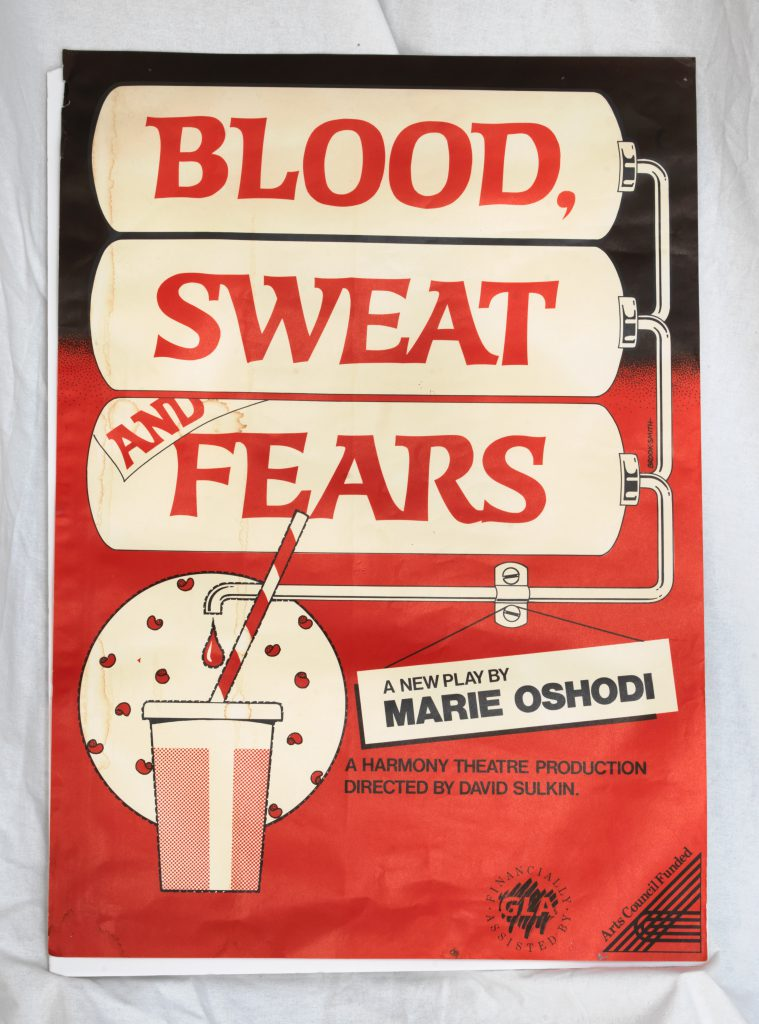 Poster for Blood, Sweat and Fears - the three words over medical tanks that filters the words through a pipe, filling a fast food cup