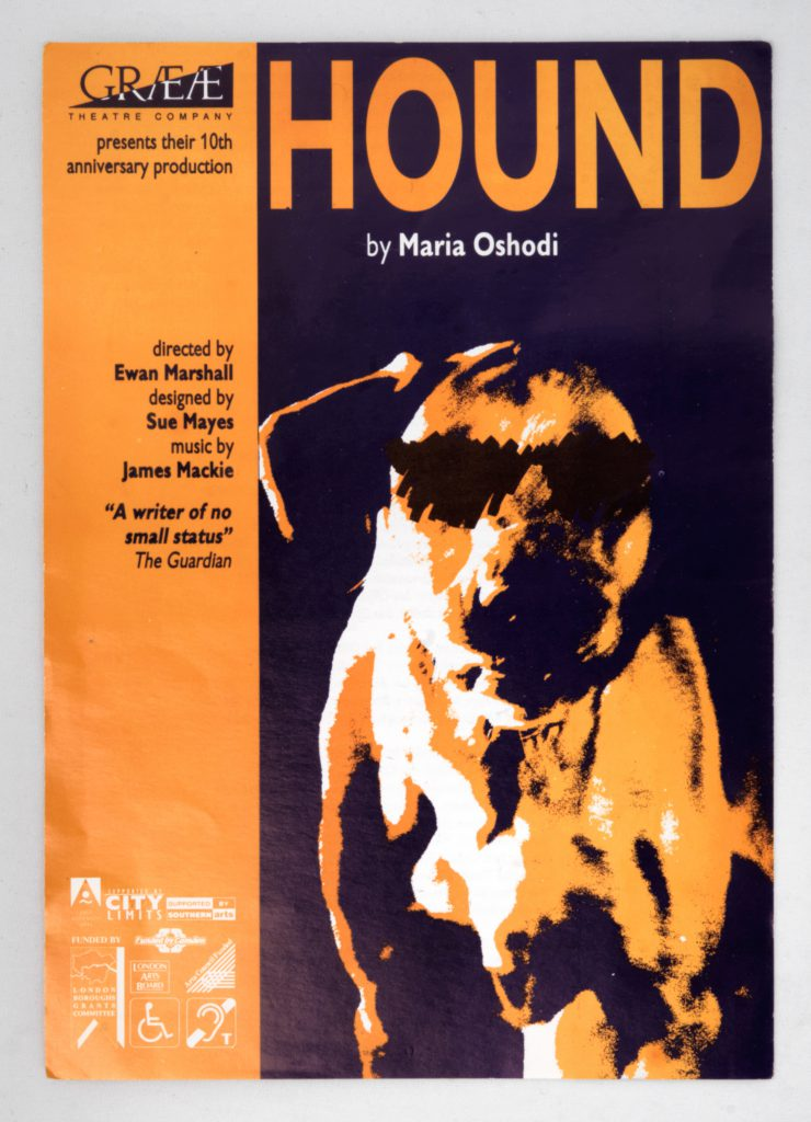 Poster for Hound. Dog faces the viewer, eyes have been scribbled out